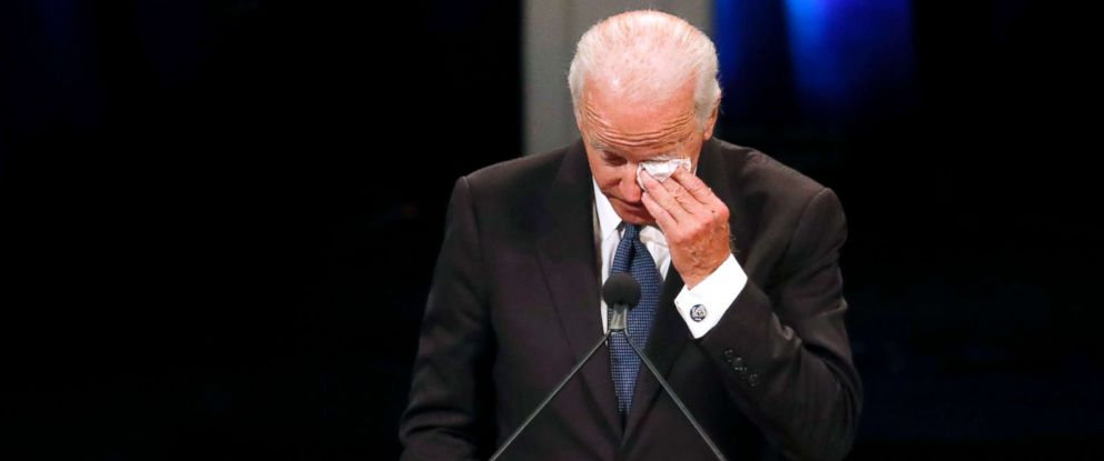 PHOTO: Former Vice President Joe Biden wipes a tear while giving a tribute during memorial service at North Phoenix Baptist Church for Sen. John McCain, Aug. 30, 2018, in Phoenix, Arizona.