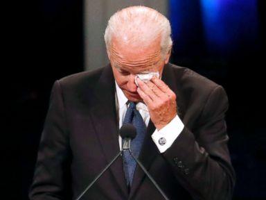 PHOTO: Former Vice President Joe Biden wipes a tear while giving a tribute during memorial service at North Phoenix Baptist Church for Sen. John McCain, Aug. 30, 2018, in Phoenix, Arizona.