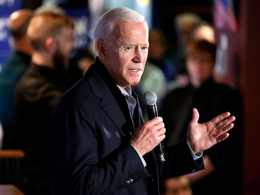 PHOTO: Former vice president and Democratic presidential candidate Joe Biden speaks during a campaign stop at the Community Oven restaurant in Hampton, N.H., May 13, 2019.