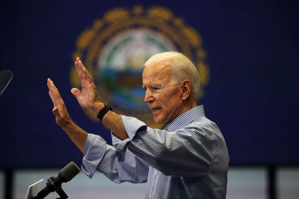 PHOTO: Former Vice President and Democratic Presidential candidate Joe Biden speaks to voters, May 13, 2019, in Manchester, New Hampshire.