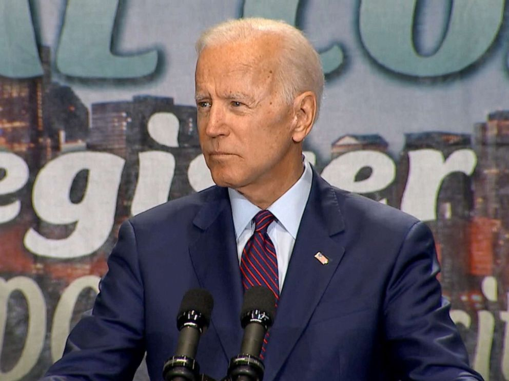 PHOTO: Joe Biden speaks at the Rainbow Push Coalition conference in Chicago, June 28, 2019.