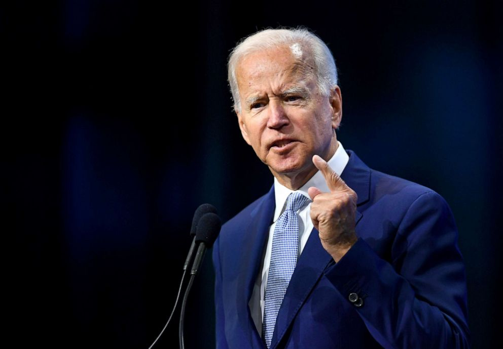 PHOTO: Democratic 2020 presidential candidate and former Vice President Joe Biden addresses the crowd at the New Hampshire Democratic Party state convention in Manchester, New Hampshire, Sept. 7, 2019.
