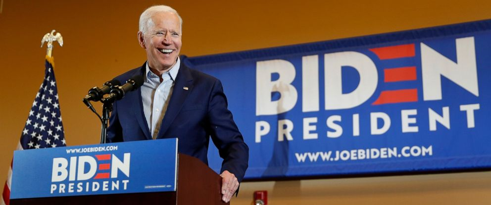 PHOTO: Former Vice President and Democratic presidential candidate Joe Biden speaks at a rally with members of a painters and construction union, Tuesday, May 7, 2019, in Henderson, Nev.