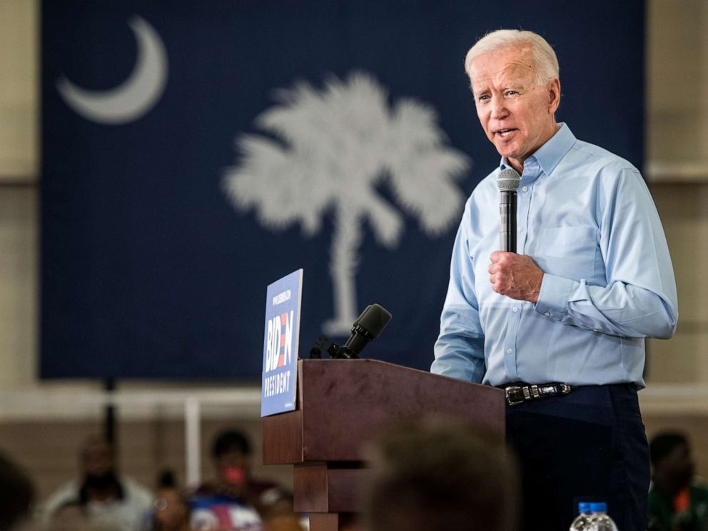 PHOTO: Democratic presidential candidate Joe Biden addresses a crowd at the Hyatt Park community center, May 4, 2019, in Columbia, South Carolina.