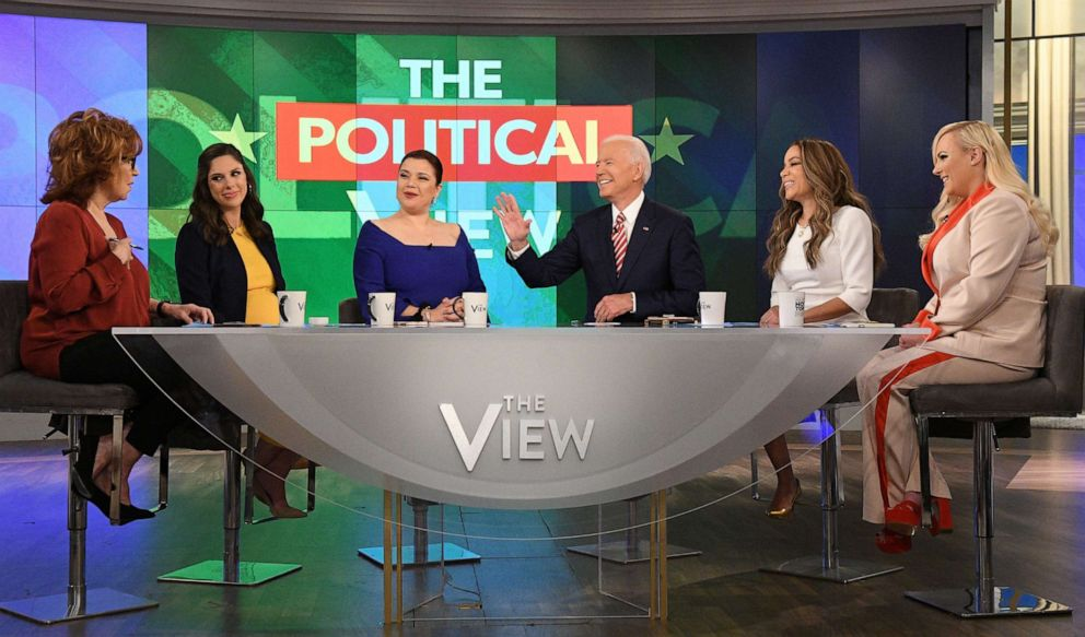 PHOTO: Former Vice President and Democratic presidential candidate Joe Biden appears on ABCs, The View, with Joy Behar, Abby Huntsman, Ana Navarro, Sunny Hostin and Meghan McCain in New York, April 26, 2019.