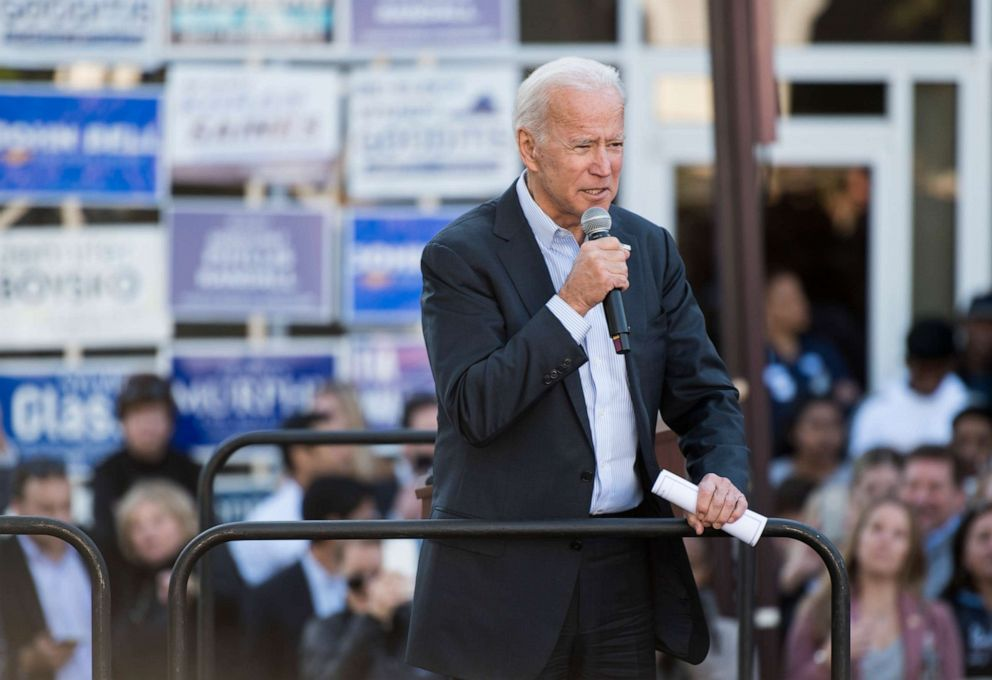 PHOTO: Former Vice President Joe Biden speaks during a kick off rally for Virginia Democrats bid to take control of the state House and Senate in Sterling, Va., Nov. 3, 2019.