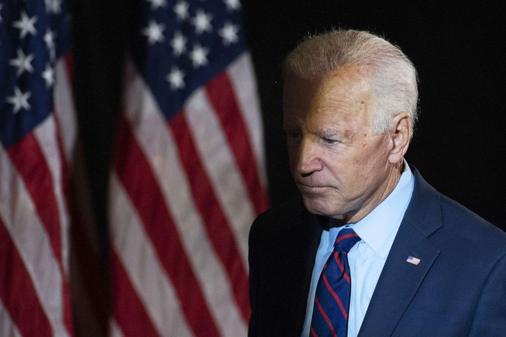 PHOTO: Former Vice President Joe Biden exits after making remarks about the DNI Whistleblower Report as well as President Trumps ongoing abuse of power at the Hotel DuPont on Sept. 24, 2019, in Wilmington, Del.