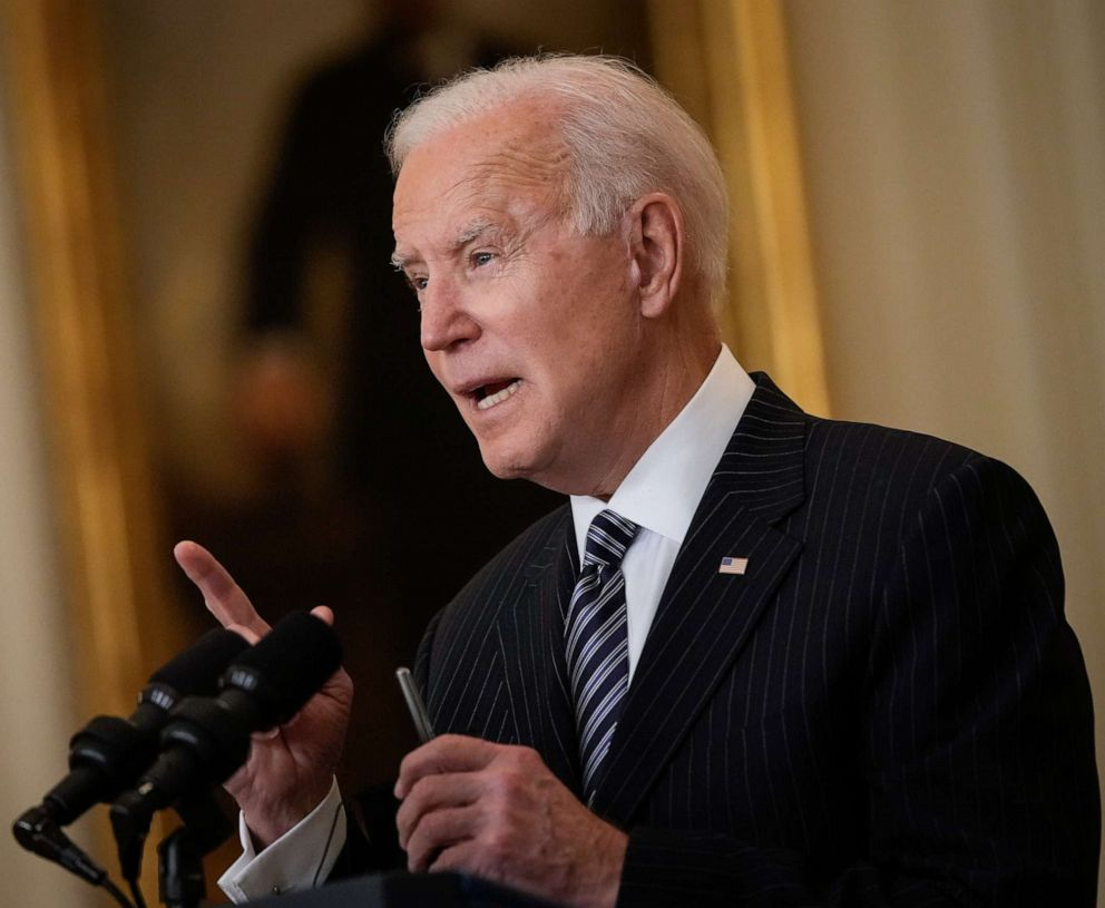 PHOTO: President Joe Biden speaks in the East Room of the White House on March 18, 2021, in Washington, D.C.