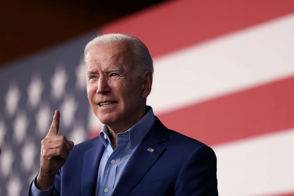 PHOTO: U.S. President Joe Biden participates in a campaign event with candidate for Governor of Virginia Terry McAuliffe, at Lubber Run Park in Arlington, Va., July 23, 2021.