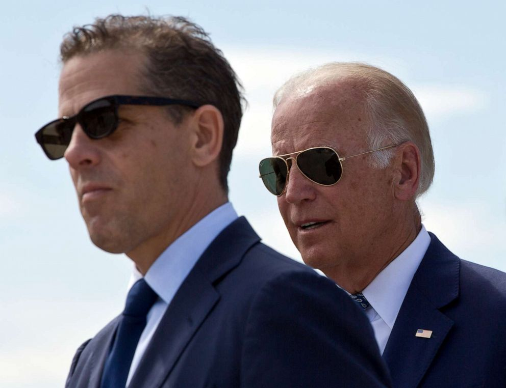 PHOTO: Hunter Biden and Joe Biden attend a ceremony to name a national road after Joseph R. Beau Biden III, in the village of Sojevo, Kosovo, on Aug. 17, 2016.