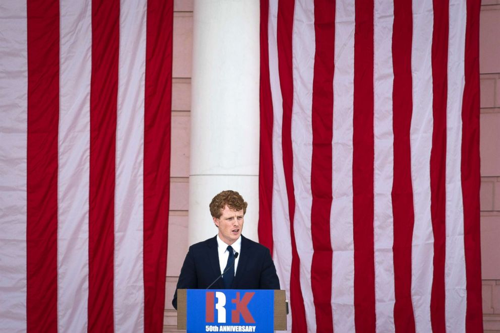 PHOTO: Rep. Joe Kennedy III speaks during the Robert F. Kennedy memorial service at Arlington National Cemetery in Arlington, June 6, 2018.