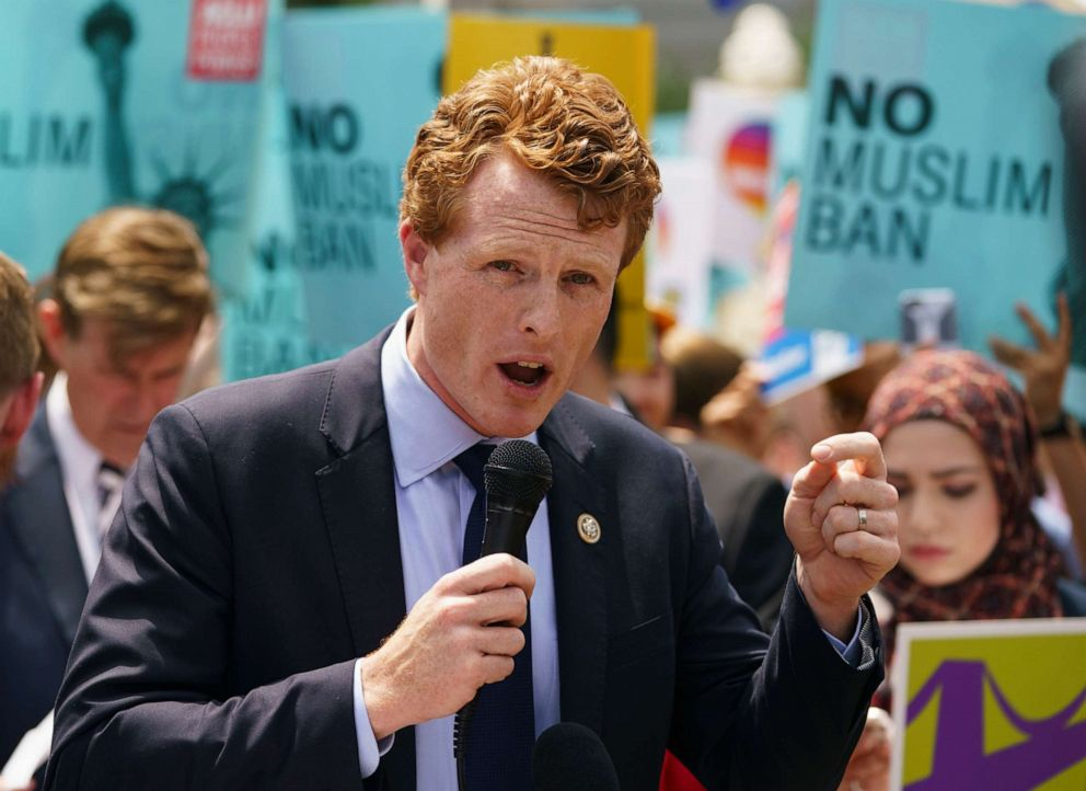 PHOTO: Rep. Joe Kennedy speaks during the We Will Not Be Banned protest sponsored by Muslim Advocates in front of the Supreme Court in Washington.