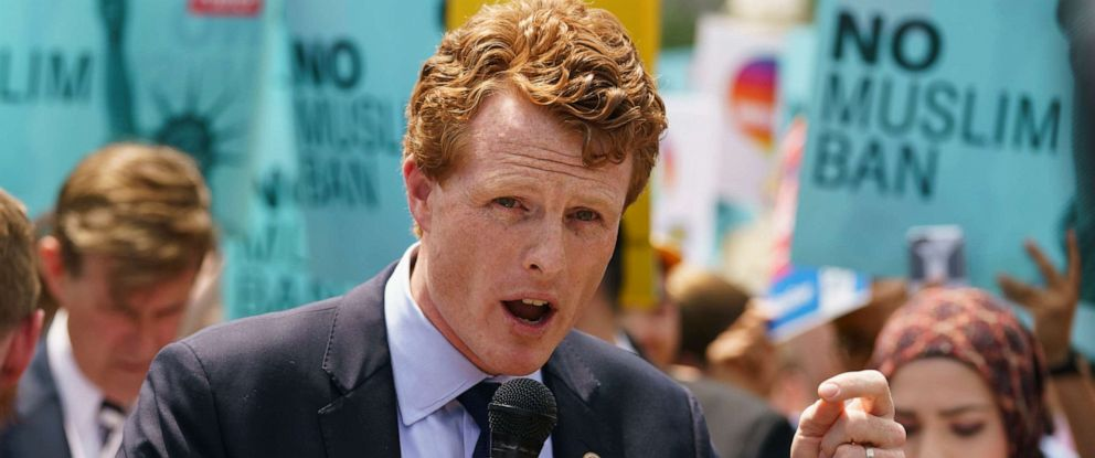 PHOTO: In this June 26, 2018, file photo, Rep. Joe Kennedy, D-Mass., speaks in front of the Supreme Court in Washington.