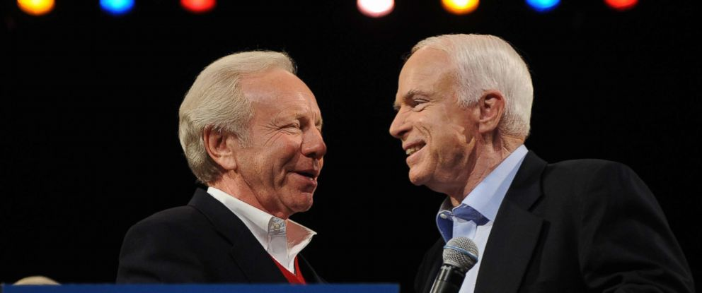 PHOTO: Sen. Joe Lieberman embraces Republican presidential nominee Sen. John McCain (R-AZ) after introducing him at a campaign rally at the Henderson Pavilion Nov. 3, 2008 in Henderson, Nevada.