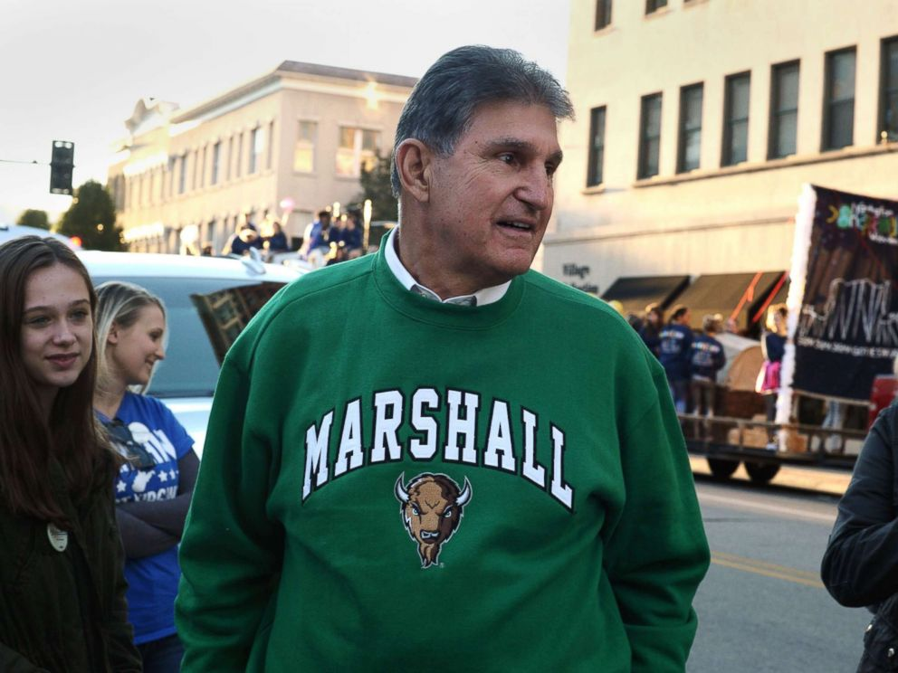 PHOTO: Sen. Joe Manchin prepares to march in the homecoming parade for Marshall University in Huntington, W.Va., Oct. 18, 2018.