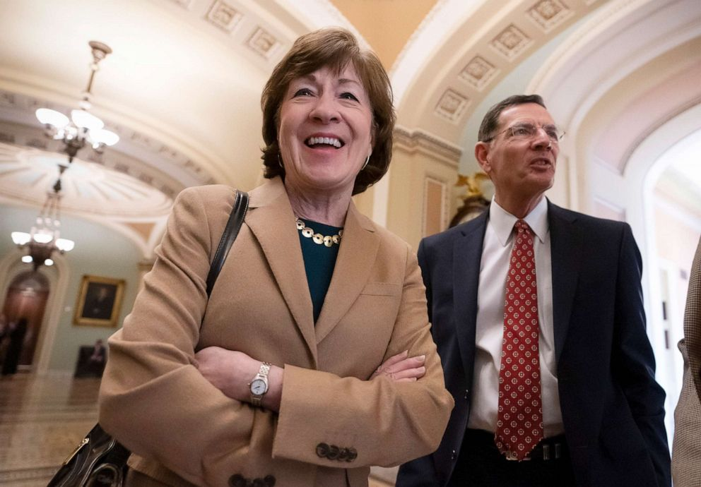 PHOTO: Sen. Susan Collins and Sen. John Barrasso are pictured together at the Capitol in Washington, March 14, 2019.