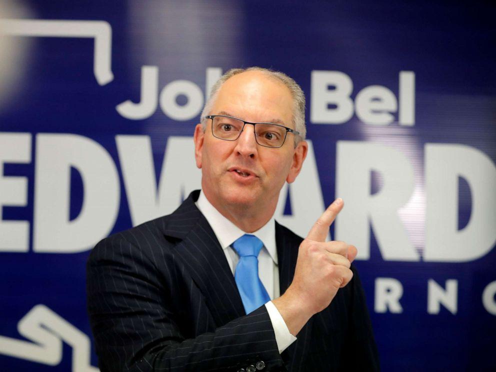 PHOTO: Louisiana Gov. John Bel Edwards talks to media at his campaign office in Shreveport, La., Thursday, Nov. 14, 2019.