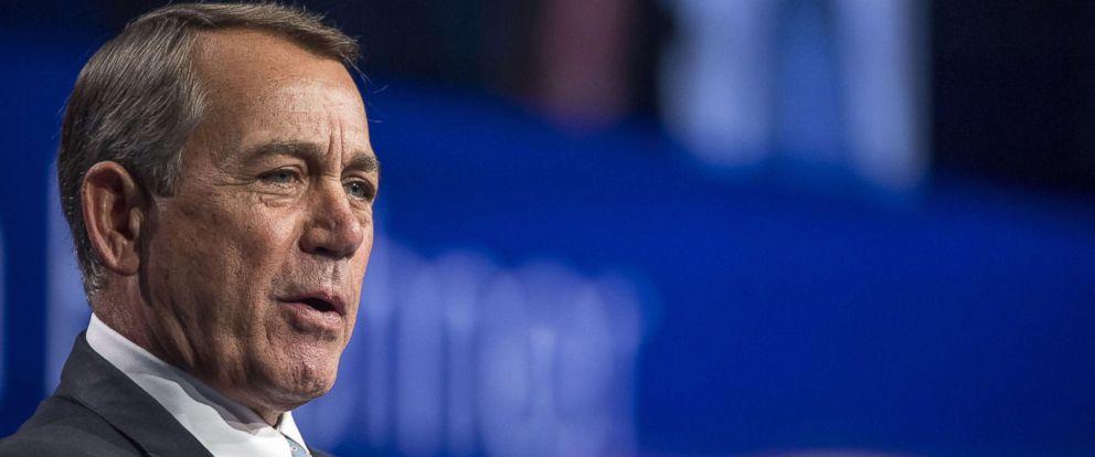 PHOTO: Former U.S. House Speaker John Boehner speaks during the Skybridge Alternatives (SALT) conference in Las Vegas, May 12, 2016.