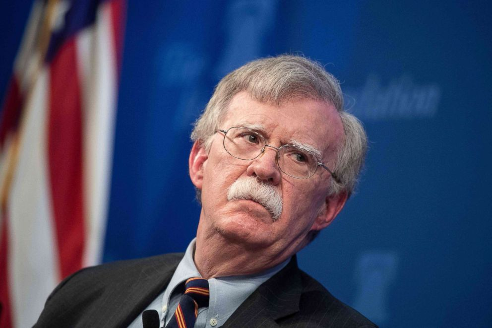 PHOTO: National Security Advisor John Bolton speaks about the administrations African policy at the Heritage Foundation in Washington, DC, Dec. 13, 2018.