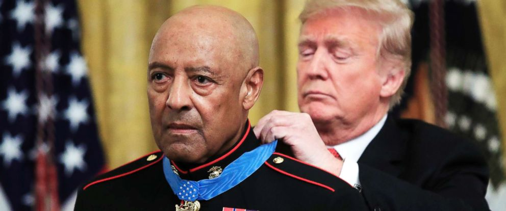 PHOTO: President Donald Trump presents the Medal of Honor to U.S. Marine Corps retired Sgt. Maj. John Canley, during an East Room ceremony at the White House, Oct. 17, 2018.