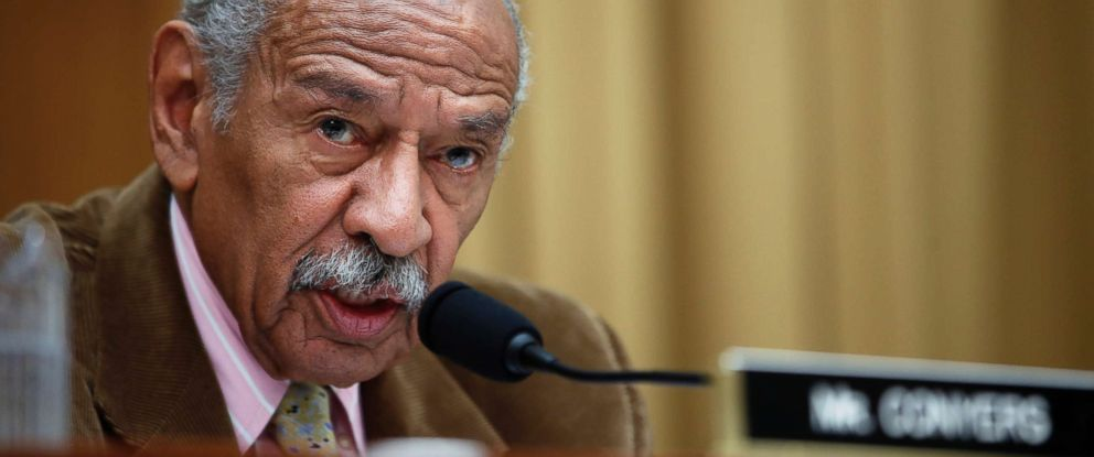 PHOTO: Rep. John Conyers speaks during a hearing of the House Judiciary subcommittee on Capitol Hill in Washington, D.C, April 4, 2017.