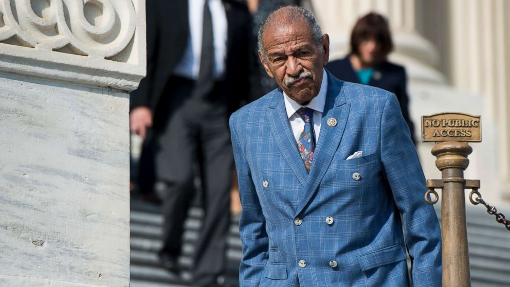 Rep. John Conyers, D-Mich., walks down the House steps after voting in the Capitol, Nov. 3, 2017.