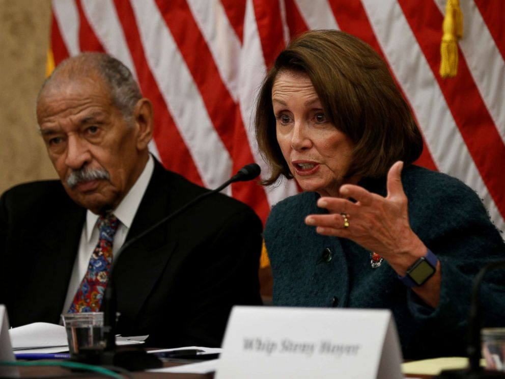 PHOTO: House Minority leader Nancy Pelosi and Rep. John Conyers take part in a discussion panel on President Trumps Muslim and refugee ban at the Capitol in Washington, D.C., Feb. 2, 2017.