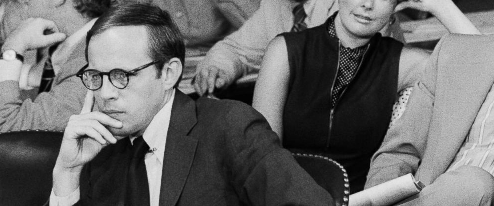 PHOTO: Fired white House counsel John Dean testifies before the Senate Watergate Committee while his wife, Maureen, watches in Washington, June 28, 1973.
