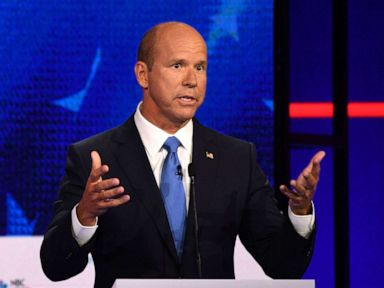 PHOTO: John Delaney participates in the first Democratic primary debate hosted by NBC News at the Adrienne Arsht Center for the Performing Arts in Miami, Florida, June 26, 2019.