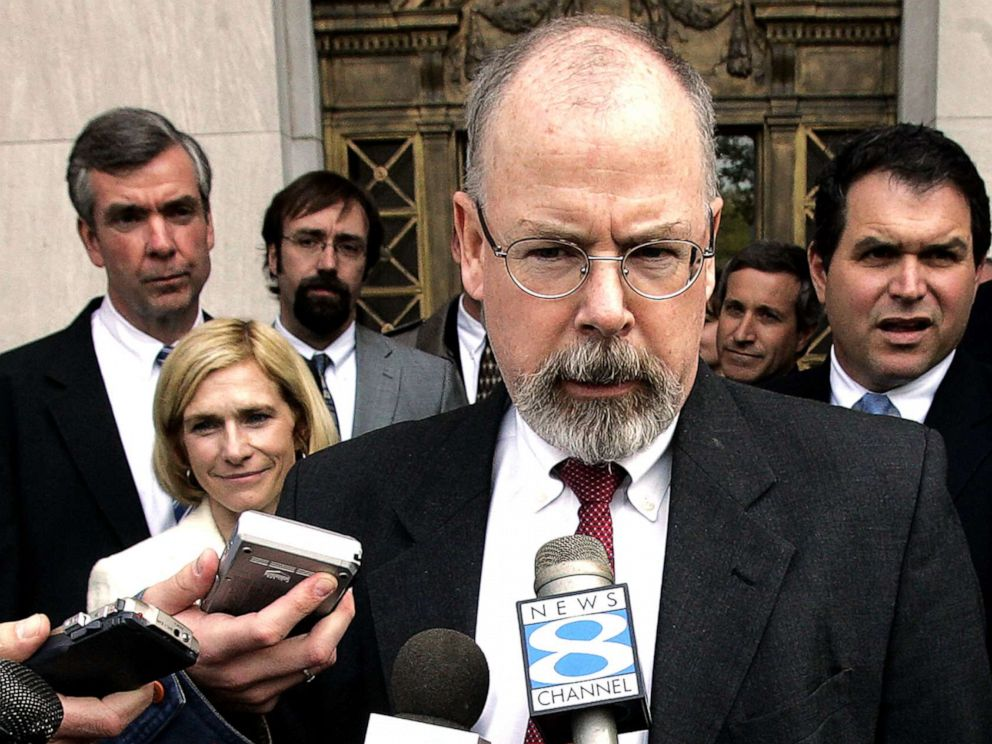 PHOTO: John Durham, a federal prosecutor in Connecticut, speaks to reporters on the steps of U.S. District Court in New Haven, Conn. in this April 25, 2006 file photo.