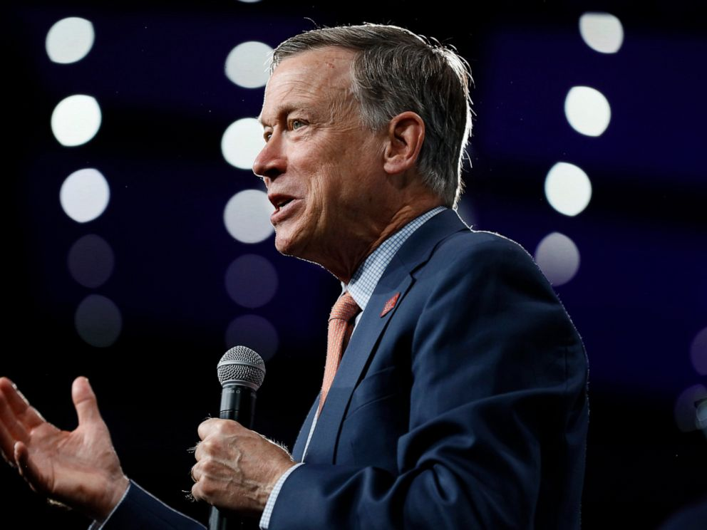 PHOTO: Democratic presidential candidate former Colorado Gov. John Hickenlooper speaks at the Presidential Gun Sense Forum, Saturday, Aug. 10, 2019, in Des Moines, Iowa.