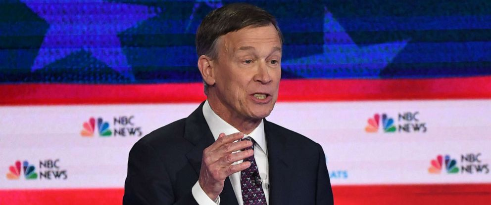 PHOTO: John Hickenlooper participates in the second night of the first 2020 democratic presidential debate at the Adrienne Arsht Center for the Performing Arts in Miami, June 27, 2019.