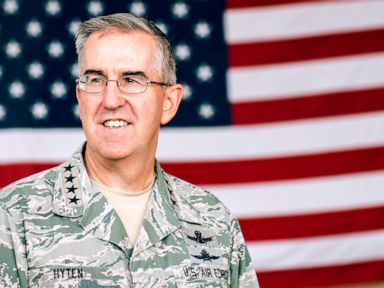 PHOTO: Gen. John E. Hyten, U.S. Strategic Command commander, stands in front of a flag at Minot Air Force Base, N.D., June 6, 2016.