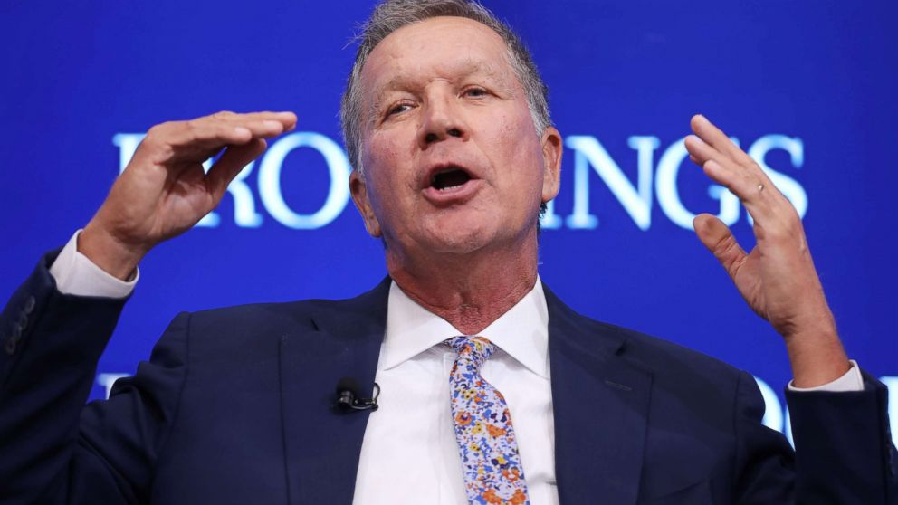 Gov. John Kasich participates in a Brookings Institution event on Oct. 10, 2018 in Washington.