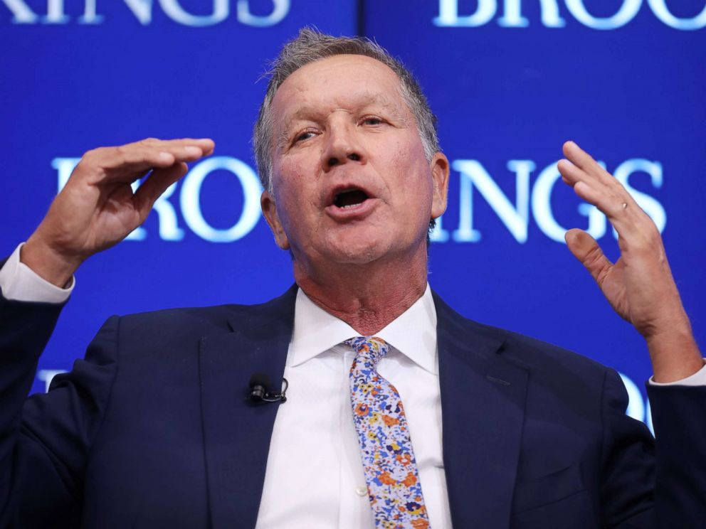 PHOTO: Gov. John Kasich participates in a Brookings Institution event on Oct. 10, 2018 in Washington.