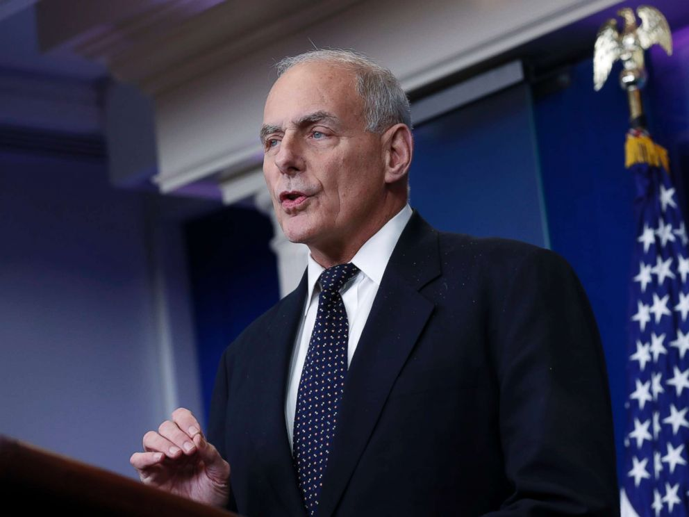 PHOTO: White House Chief of Staff John Kelly responds to a question from the news media during the White House daily briefing in Washington, Oct. 19, 2017.