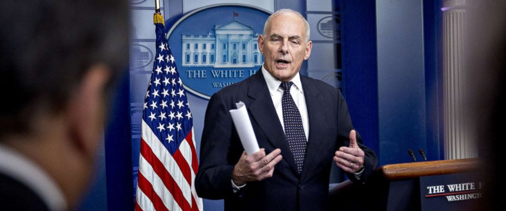 PHOTO: John Kelly, White House chief of staff, speaks during a White House briefing in Washington, Oct. 19, 2017