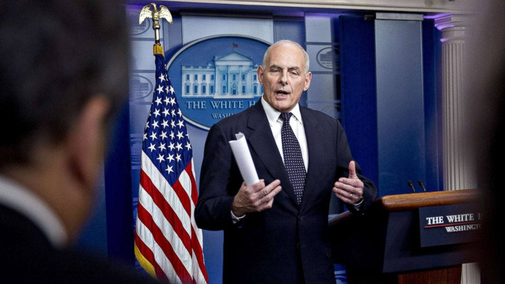 John Kelly, White House chief of staff, speaks during a White House briefing in Washington, Oct. 19, 2017.