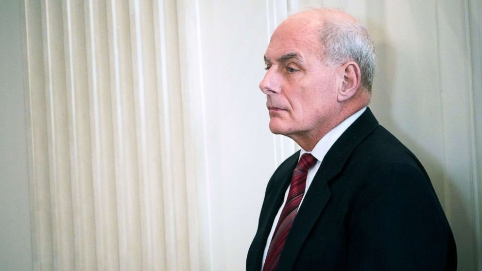 White House Chief of Staff John Kelly is seen before the 2018 White House business session with governors in the State Dining Room of the White House, Feb. 26, 2018, in Washington.