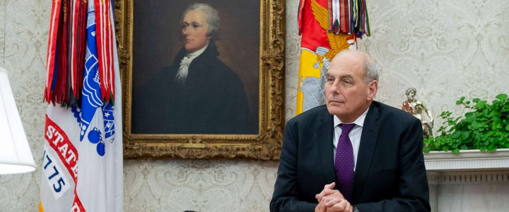 PHOTO: White House Chief of Staff John Kelly stands in the Oval Office of the White House in Washington, Nov. 16, 2018.