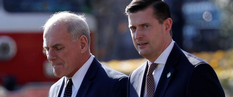 PHOTO: White House Chief of Staff John Kelly walks with White House Staff Secretary Rob Porter in Washington, Nov. 29, 2017.