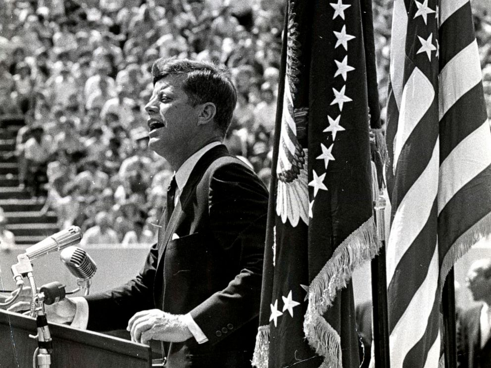 PHOTO: President John F. Kennedy addresses a crowd at Rice Stadium in Houston on Sept. 12, 1962.