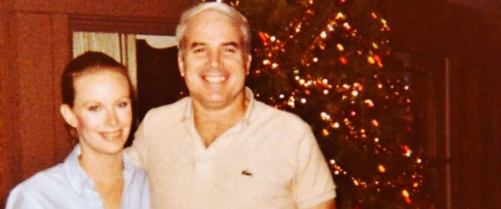 """PHOTO: Cindy and John McCain are pictured in an undated photo posted to Cindy McCains Instagram account on July 20, 2017 with the text, """"Ok one more. @senjohnmccain with me at our first Christmas as a married couple."""""""