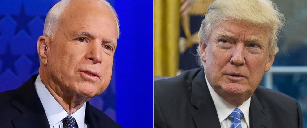 PHOTO: Pictured (L-R) are Sen. John McCain in Phoenix, Oct. 10, 2016 and President Donald Trump at the White House in Washington, Jan. 23, 2017.
