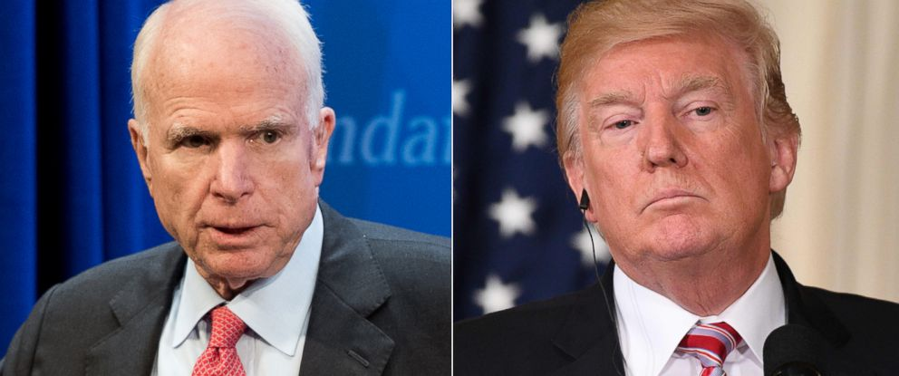 PHOTO: Pictured (L-R) are Sen. John McCain at the Heritage Foundation in Washington, July 11, 2017 and President Donald Trump at the White House in Washington, Sept. 7, 2017.