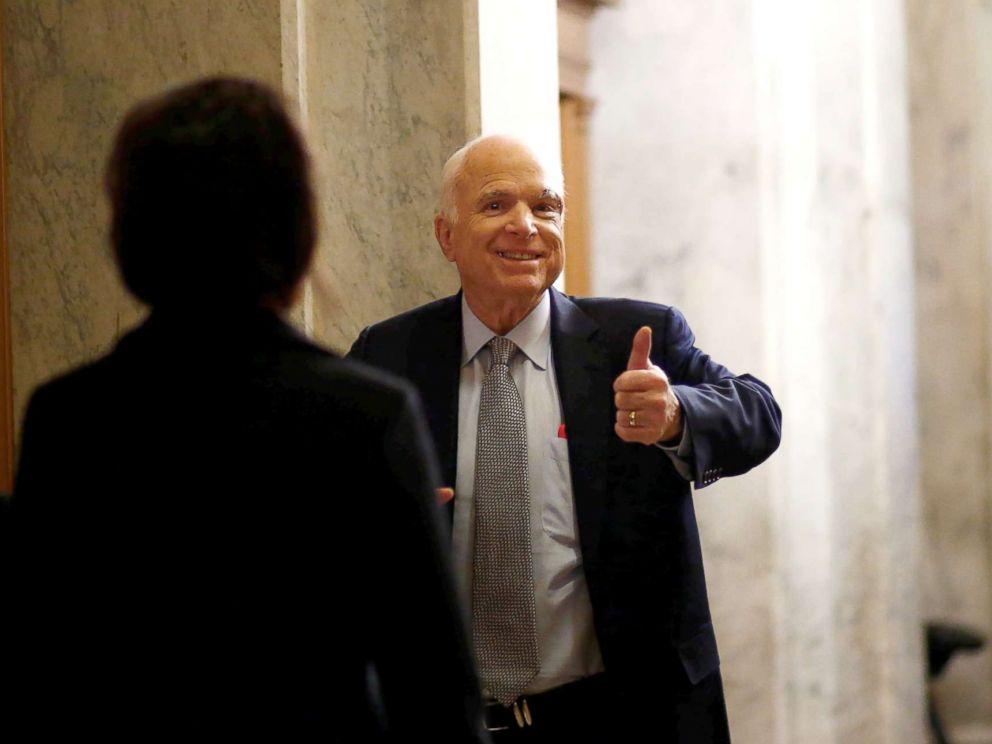John McCain R AZ Arrives On Capitol Hill In