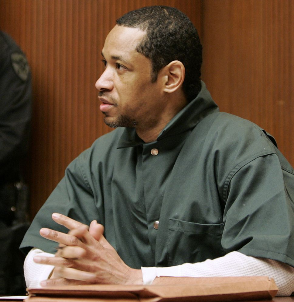 PHOTO: In a Friday, April 28, 2006, file photo, convicted sniper John Allen Muhammad gestures as he address judge James L. Ryan during a media preview before the start of his trial, in Rockville, Md.