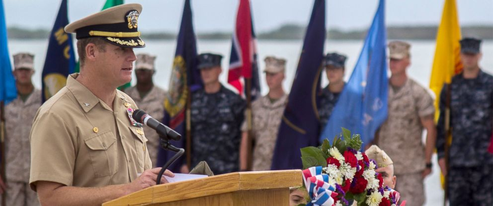 PHOTO: Capt. John R. Nettleton, commanding officer of Naval Station Guantanamo Bay, Cuba, delivers remarks during a Battle of Midway commemoration ceremony.