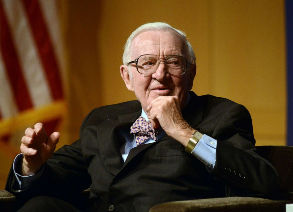 PHOTO: Retired Supreme Court Justice John Paul Stevens answers a question posed by Brooke Gladstone (not shown), Host and Managing Editor of National Public Radio newsmagazine at the National Constitution Center April 28 2014 in Philadelphia.