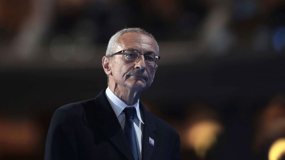 John Podesta, chair of the Hillary Clinton presidential campaign, walks off stage after delivering a speech on the first day of the Democratic National Convention at the Wells Fargo Center, July 25, 2016 in Philadelphia.